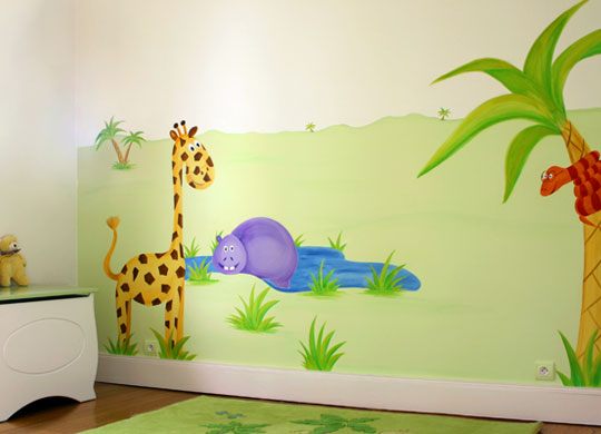 Dco dcoration murale tableau enfant tableau enfant la jungle beautiful scenery photography for Peinture murale chambre enfant