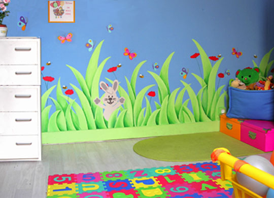 Couleur chambre jumeaux mixte 29 mulhouse for Peinture murale enfant